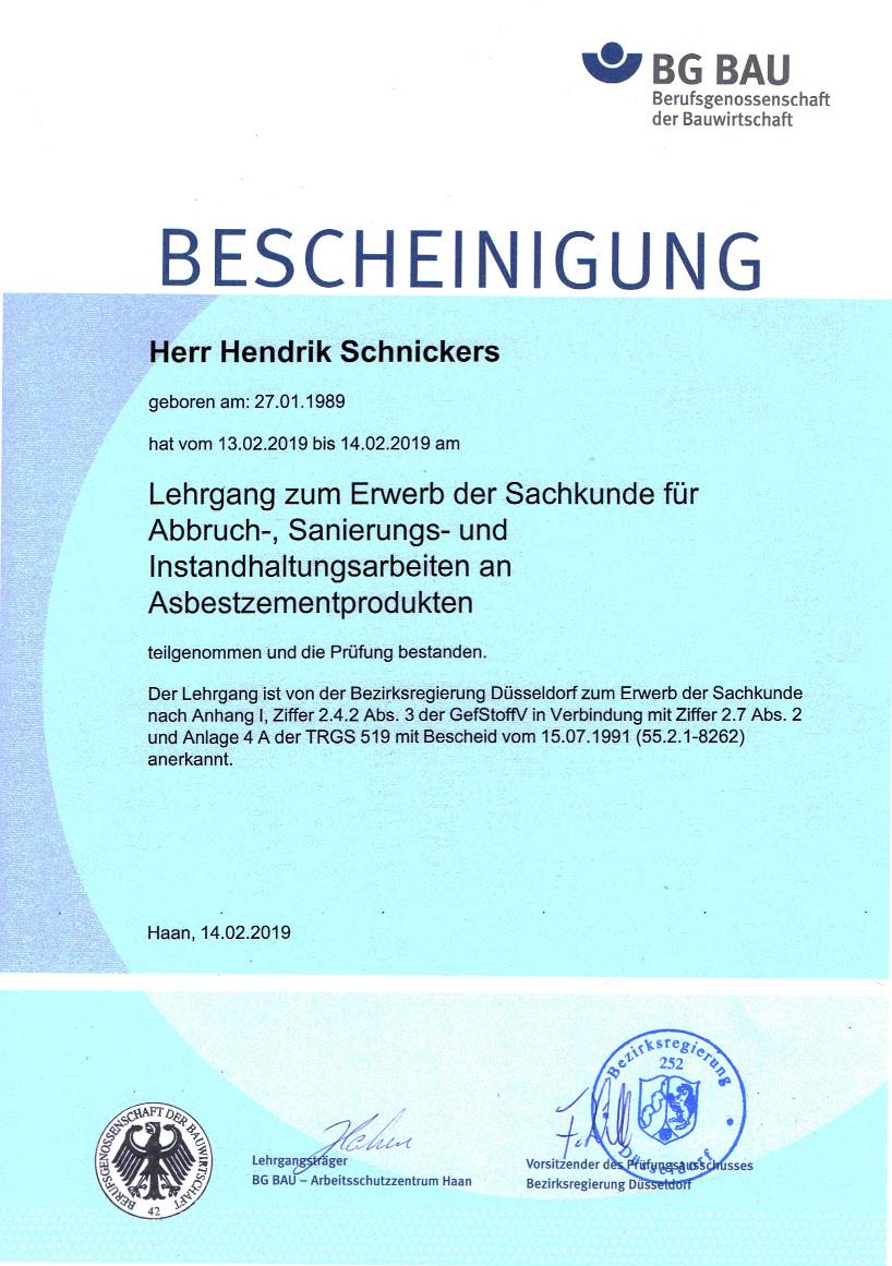 Seminarebescheinigung Henrik Schnickers - Asbestzementprodukte
