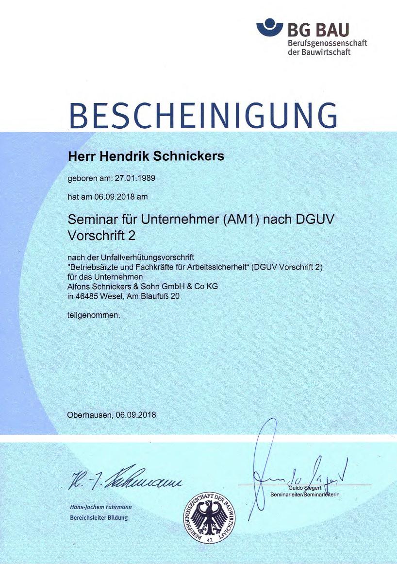 Seminarebescheinigung Henrik Schnickers - DGUV