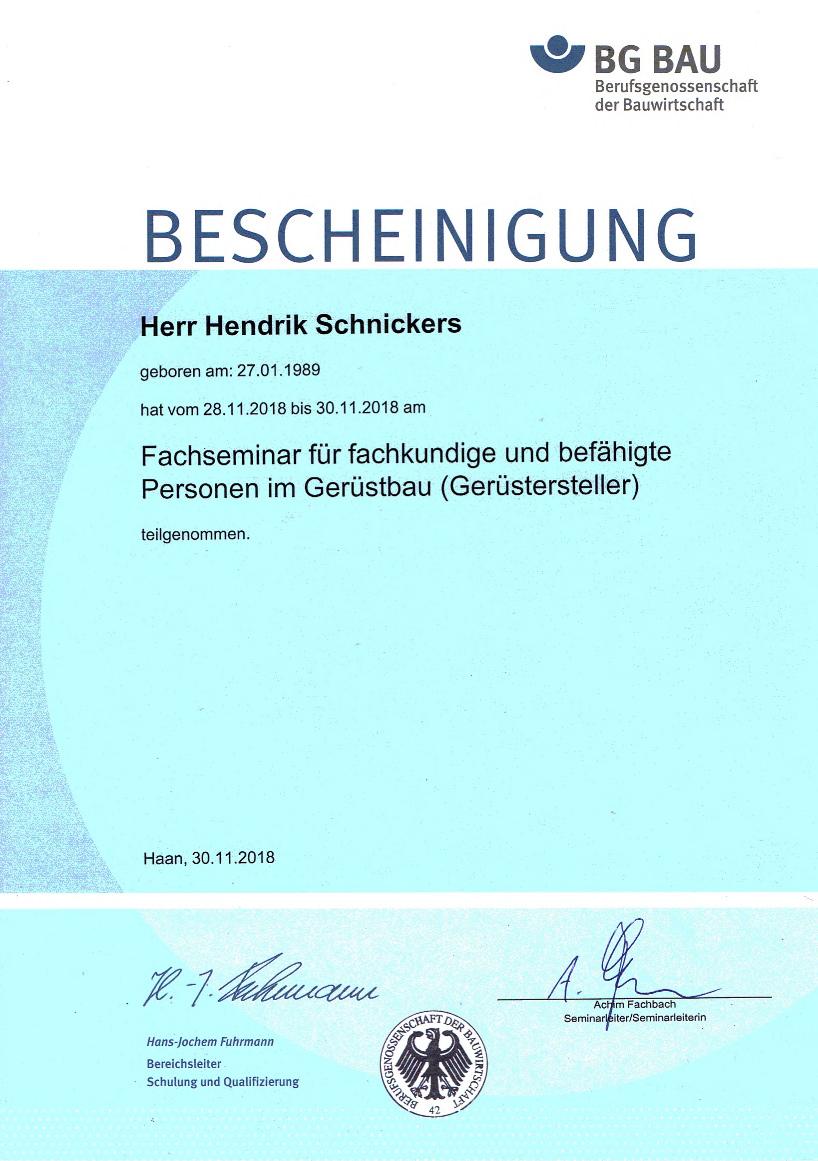 Seminarebescheinigung Henrik Schnickers - Gerüstbau