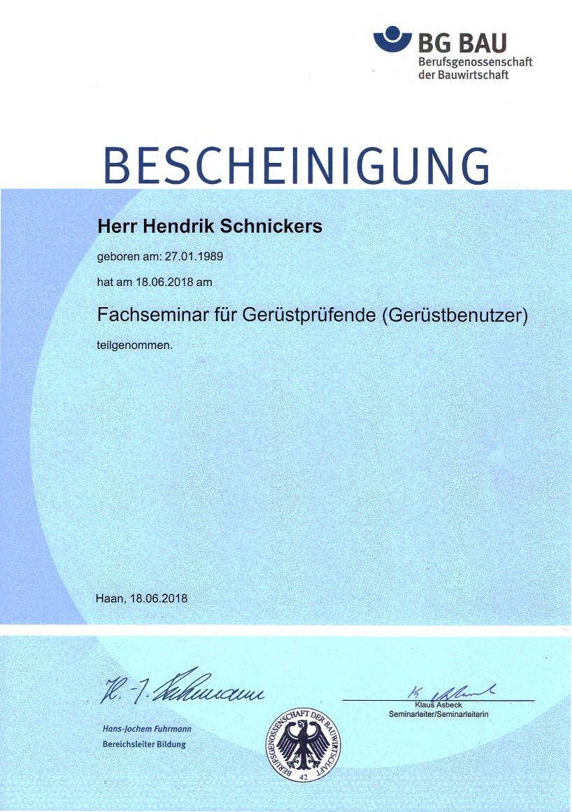 Seminarebescheinigung Henrik Schnickers - Gerüstprüfung